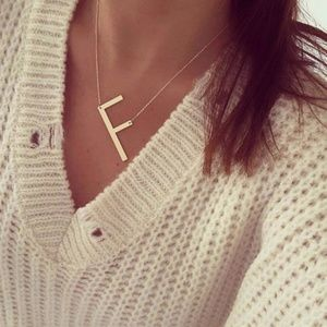 "Large Initial Letter "" F "" Rose Gold Necklace"
